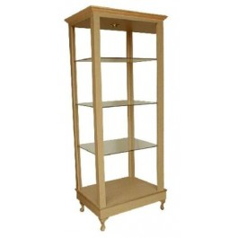 COLLINS 911-30-1 BRADFORD FREE-STANDING Retail Display with three adjustable glass shelves, light, crown & accent mold, four Queen Anne legs.