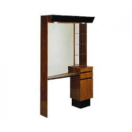 KAEMARK USA. J-25 STYLING STATION RETAIL DISPLAY GLASS SHELVES, TWO DRAWERS, TILT OUT APPLIANCE, MIRROR TOP CANOPY