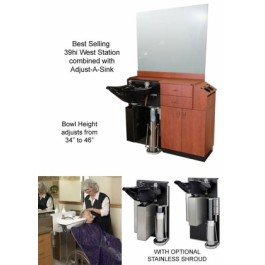 STYLING WET SHAMPOO STATION/AJUST A SINK, COLLINS, 515-48-4 QSE 39HI EXTRA WET STATION