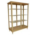 COLLINS 911-60-1 BRADFORD FREE-STANDING Retail Display with six adjustable glass shelves, two lights, crown & accent mold, four Queen Anne legs